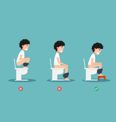 unhealthy vs healthy positions for defecate vector image