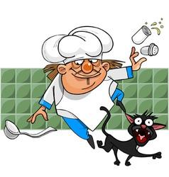Unsuccessful cartoon cook stumbles on a black cat vector