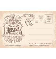 Vintage merry Christmas and New Year holiday vector image vector image