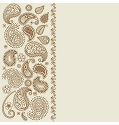 Paisley leaf henna elements greeting card vector image