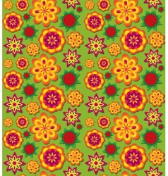 Seamless colorful texture with volumetric flowers vector image