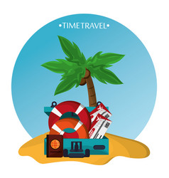 Time travel beach sand elements icons vector