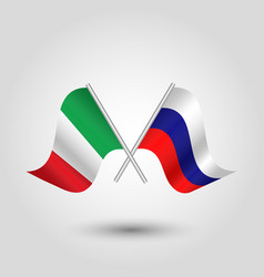 Two crossed italian and russian flags vector