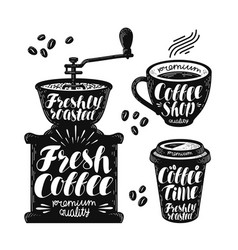 coffee grinder espresso label set cafe hot vector image