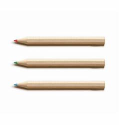 three colored wooden pencils vector image