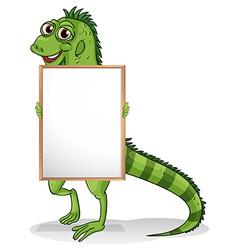 An iguana holding a framed board vector image