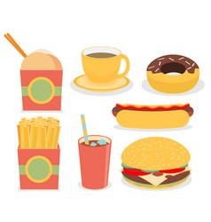 Fast junk food icons flat set vector