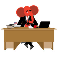 Red elephant republican sitting in office animal vector