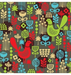 Pattern with cute birds and pretty flowers vector