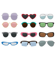 isolated set of colored sunglasses vector image