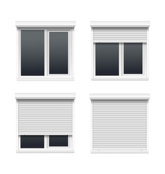 Set of windows with rolling shutters vector