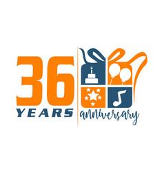 36 year gift box ribbon anniversa vector