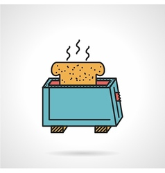 Toaster with bread flat icon vector