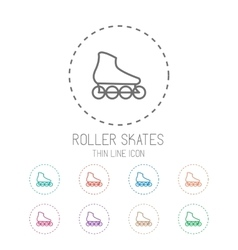 Roller skate clean thin line style sport icon set vector