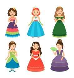 Little princess girls with tiaras vector