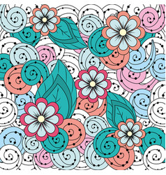 Beauty flowers with ornamental background design vector