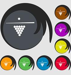 Billiard pool game equipment icon symbols on eight vector