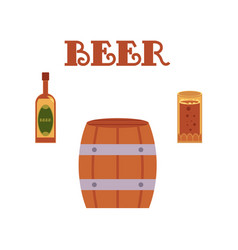 Cartoon beer symbols set vector