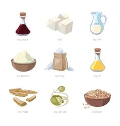 Cartoon soy food set vector