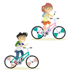cute children on bike vector image vector image