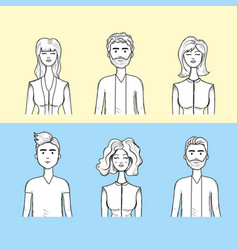 Cute people face with haistyle and expression vector