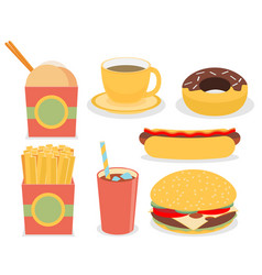 Fast junk food icons flat set vector