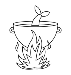 Fish soup in the cauldron icon outline style vector