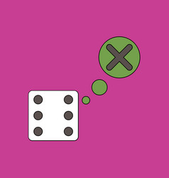 Flat icon design collection dice and x mark vector