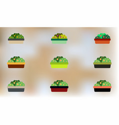 Flowers in a big pot icons house pot plants vector