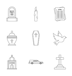 Funeral services icons set outline style vector