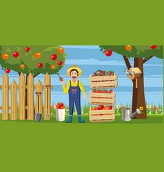 Gardener harvest icons set cartoon style vector