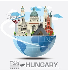 Hungary landmark global travel and journey vector