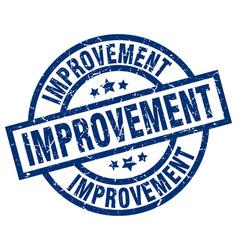 Improvement blue round grunge stamp vector