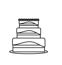 Line delicious cake to celebrate special day vector