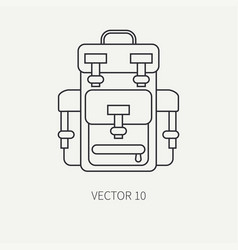 line flat hunt and camping icon - backpack vector image vector image