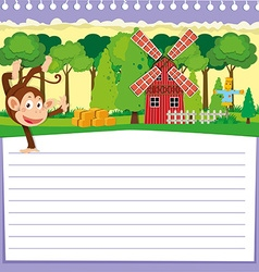 Line paper design with monkey and barn vector