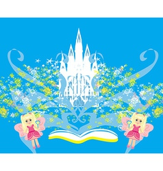 Magic world of tales fairy castle appearing from vector image