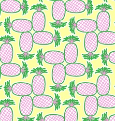 Retrospective pineapple pattern vector image vector image
