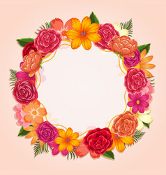 ring of colorful flowers on white background vector image vector image