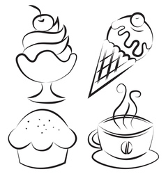 Set Desserts and coffee vector image vector image