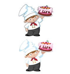small cook with cake vector image vector image