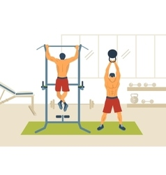 Training in the gym vector