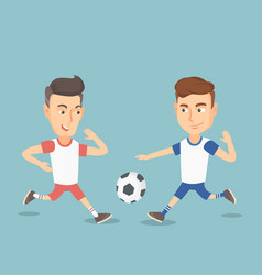 Two male soccer players fighting for a ball vector