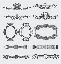 Vintage decorative scroll and background set vector