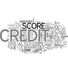 What is a credit report score text word cloud vector