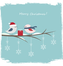 Winter card with cute birds vector image vector image
