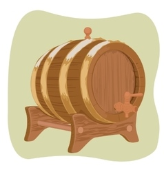Wooden barrel with iron rings on green background vector