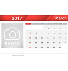 Year 2017 March month simple and clear design vector image