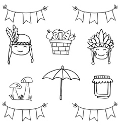 Object happy thanksgiving on doodles vector