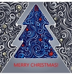 Card with a christmas tree vector